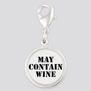 May Contain Wine Silver Round Charm