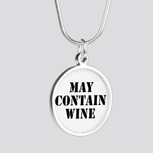 May Contain Wine Silver Round Necklace