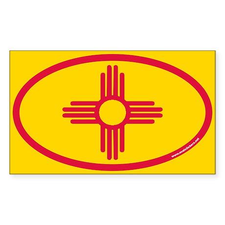 New Mexico Flag Euro Oval Sticker