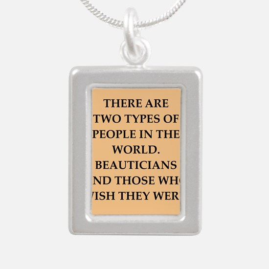 beautician Silver Portrait Necklace