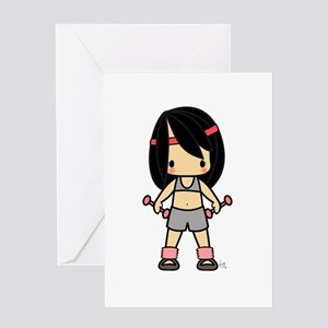 Sunkissed Exercise Girl Black Hair Greeting Card