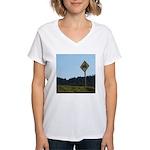 Farmer Crossing Sign Women's V-Neck T-Shirt