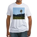 Farmer Crossing Sign Fitted T-Shirt