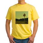 Farmer Crossing Sign Yellow T-Shirt