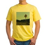 Farmer Crossing Sign Yellow T-Shirt