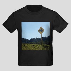 Farmer Crossing Sign Kids Dark T-Shirt