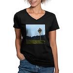 Farmer Crossing Sign Women's V-Neck Dark T-Shirt