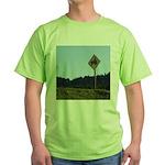 Farmer Crossing Sign Green T-Shirt