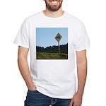 Farmer Crossing Sign White T-Shirt