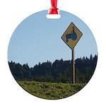 Farmer Crossing Sign Round Ornament
