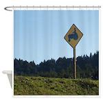 Farmer Crossing Sign Shower Curtain