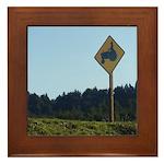 Farmer Crossing Sign Framed Tile