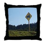 Farmer Crossing Sign Throw Pillow