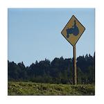 Farmer Crossing Sign Tile Coaster