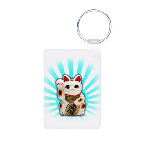 Lucky Cat (Maneki-neko) Aluminum Photo Keychain