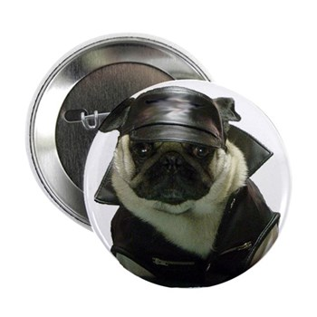 "Biker Pug 2.25"" Button (100 pack)"