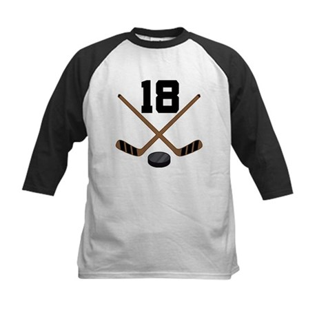 Hockey Player Number 18 Kids Baseball Jersey