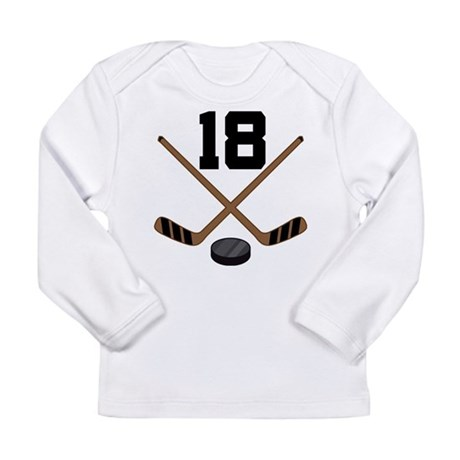 Hockey Player Number 18 Long Sleeve Infant T-Shirt