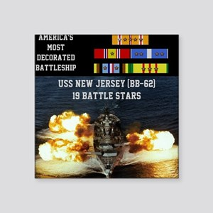 "USS NEW JERSEY (BB-62) Square Sticker 3"" x 3"""