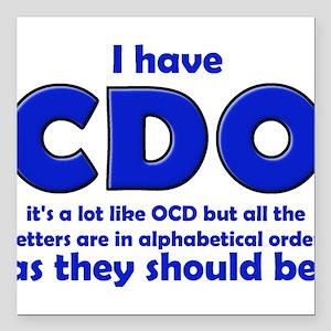 "OCD CDO Funny T-Shirt Square Car Magnet 3"" x 3"""
