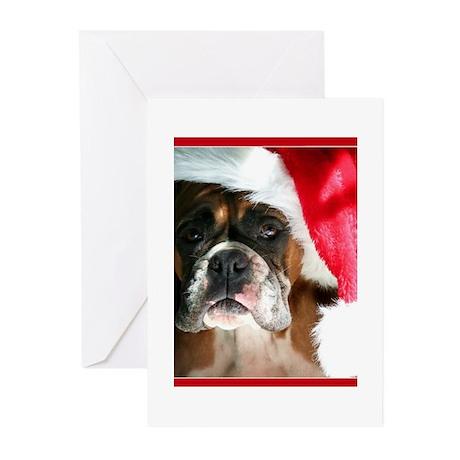 christmas boxer dog Greeting Cards