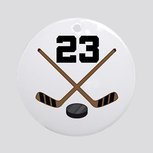 Hockey Player Number 23 Ornament (Round)
