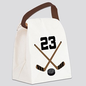 Hockey Player Number 23 Canvas Lunch Bag