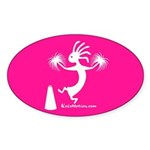 Kokopelli Cheerleader Oval Sticker