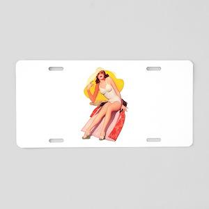Pin-Up Girl Aluminum License Plate