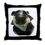 Biker Pug Throw Pillow