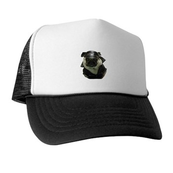 Biker Pug Trucker Hat