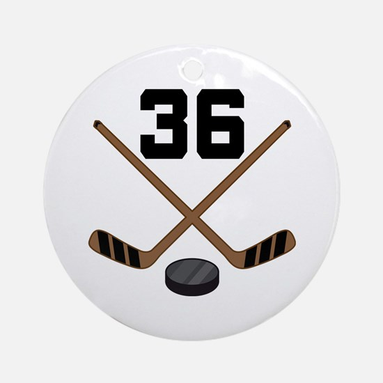 Hockey Player Number 36 Ornament (Round)