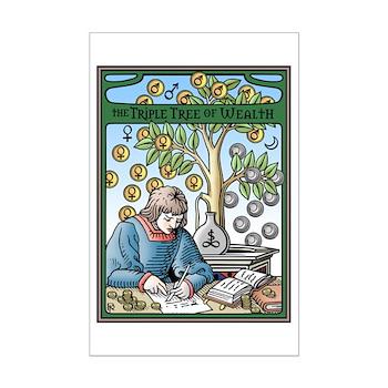 Triple Tree of Wealth Talisman Mini Poster Print