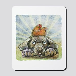 The Chicken and the Dog Mousepad