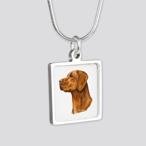 Hungarian Vizsla Silver Square Necklace