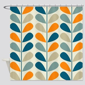 orange and teal shower curtain. Retro Pattern Shower Curtain Orange Curtains  CafePress