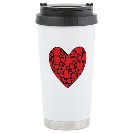 Red Hearts on Black Stainless Steel Travel Mug