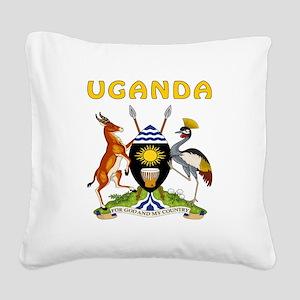 Uganda Coat of arms Square Canvas Pillow