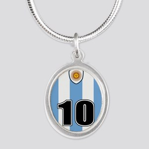 Argentina soccer Silver Oval Necklace