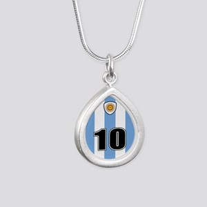 Argentina soccer Silver Teardrop Necklace