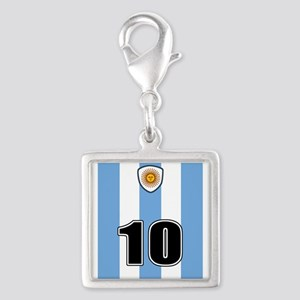 Argentina soccer Silver Square Charm