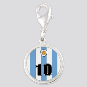 Argentina soccer Silver Round Charm