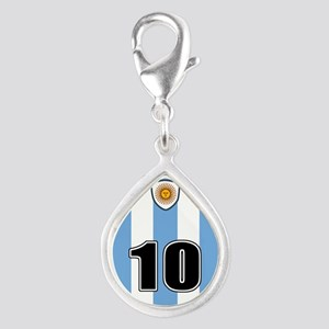 Argentina soccer Silver Teardrop Charm