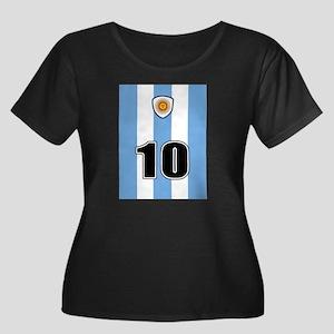 Argentina soccer Women's Plus Size Scoop Neck Dark