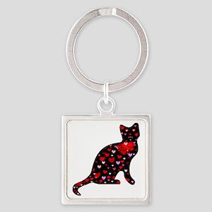 Cat Love Square Keychain