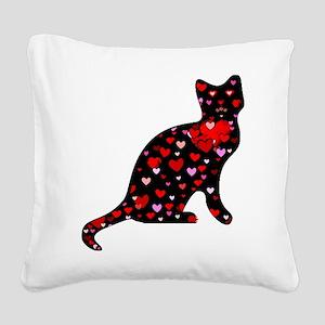 Cat Love Square Canvas Pillow