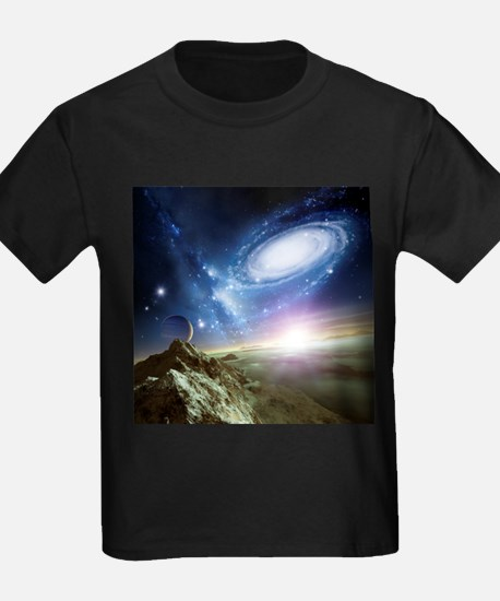 Colliding galaxies, artwork - Kid's Dark T-Shirt