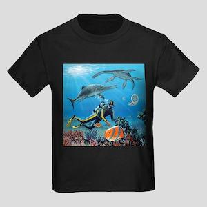 Diver and prehistoric life, artwork - Kid's Dark T
