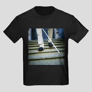 Blind man descending stairs - Kid's Dark T-Shirt