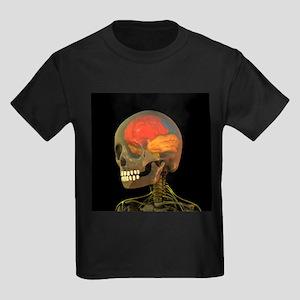 Skull and brain anatomy, artwork - Kid's Dark T-Sh